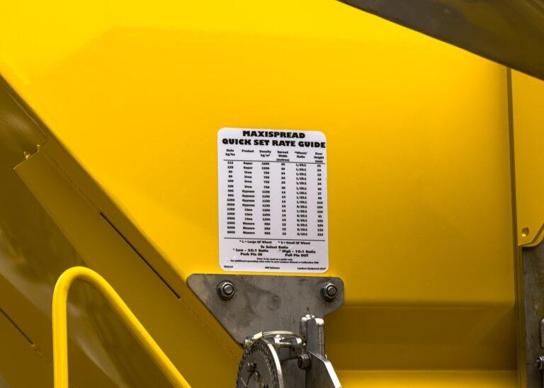 Landaco Maxispread Quick set Rate Guide Manual Calibration