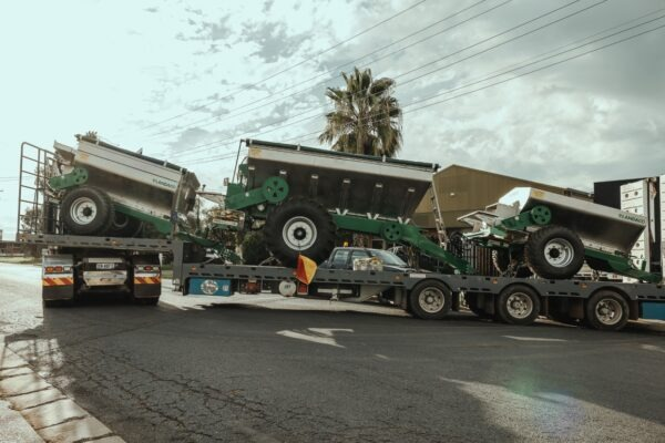 Landaco Trailing Spreaders on truck for delivery